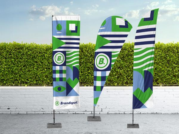 Beach flags are all the rage. Hip, fresh and set up in an instant.