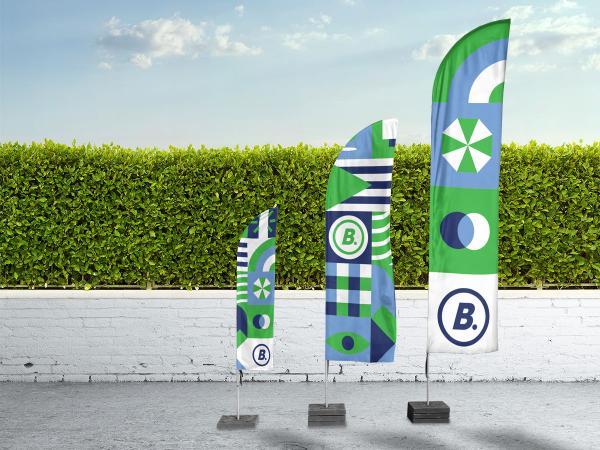 bedrukte beachflags of beachvlaggen met logo voor POS
