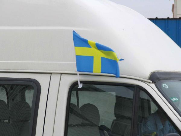 Publicity car flags of publiciteitsvlaggen voor commerciële doeleinden.