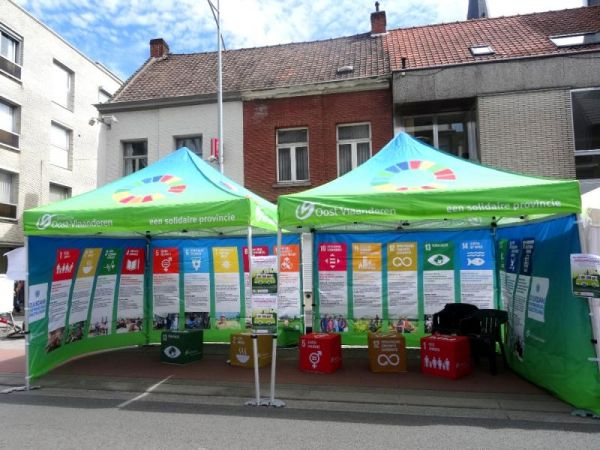Canopy tent with SDG branding