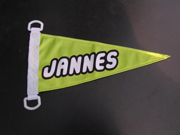 Bikeflag with logo and 2 D rings